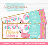 Flamingo Float Pool Party Ticket Invitation 3 - FREE thank you card
