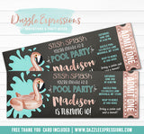 Flamingo Chalkboard Pool Party Ticket Invitation 1 - FREE thank you card