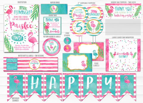 Flamingo Watercolor Complete Party Package - Printable