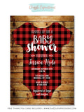 Plaid Flannel Baby Shower Invitation - FREE thank you card