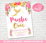 Floral and Gold Fairy Invitation 1- FREE thank you card