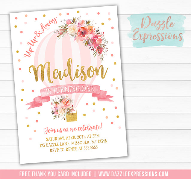 Floral Hot Air Balloon Invitation - FREE thank you card included