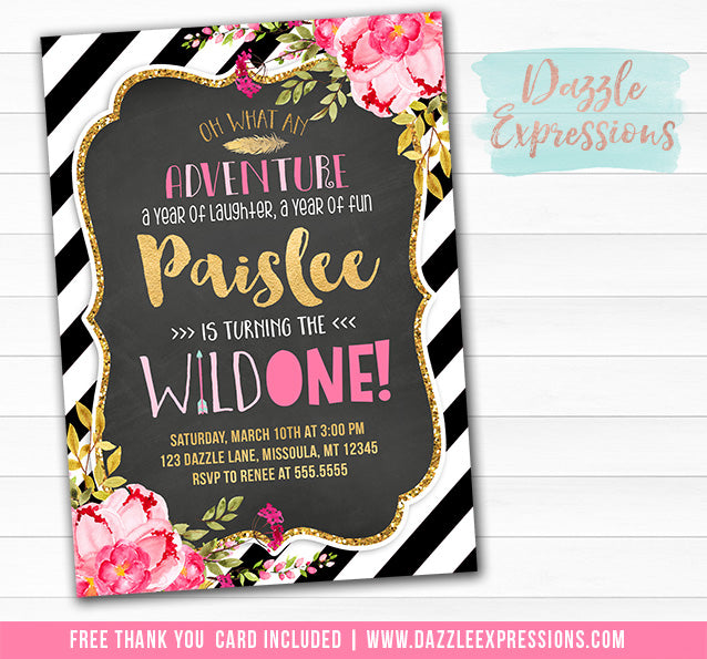 Floral and Gold Chalkboard Wild One Birthday Invitation 1 - FREE thank you card