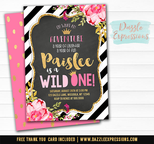 Floral and Gold Chalkboard Wild One Birthday Invitation 2 - FREE thank you card