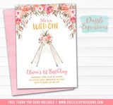Floral Teepee Birthday Invitation 2 - FREE thank you card included