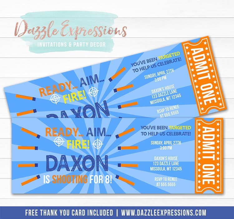 Foam Dart Ticket Invitation 3 - FREE thank you card