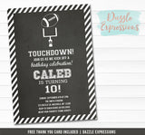 Football Chalkboard Invitation - Thank You Card Included
