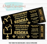 Football Ticket Birthday Invitation 3 - FREE thank you card included