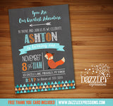 Fox Chalkboard Birthday Invitation 2 - FREE thank you card included