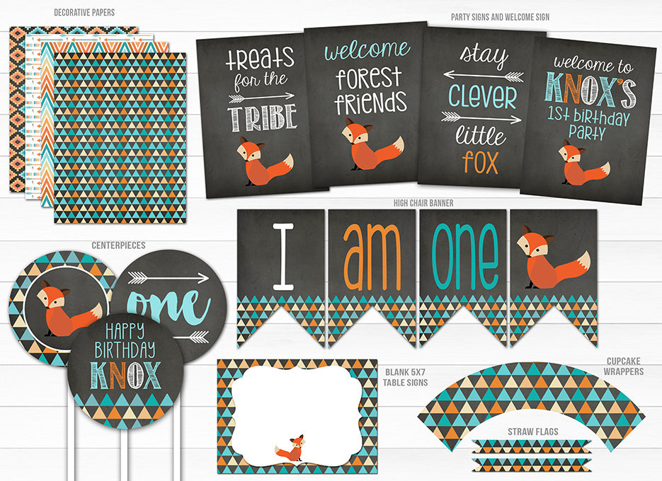 Fox Chalkboard Complete Party Package