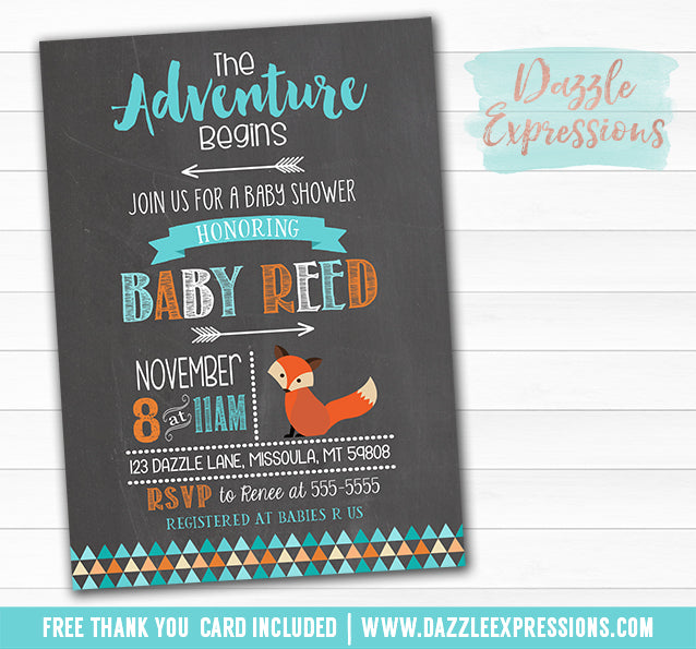 Fox Chalkboard Baby Shower Invitation - FREE thank you card