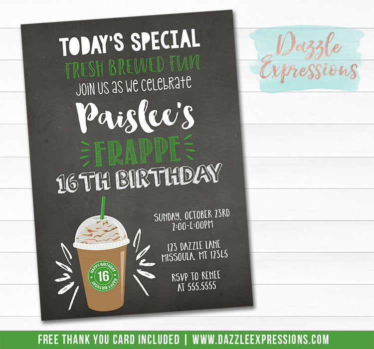 Frappe Chalkboard Invitation - FREE thank you card