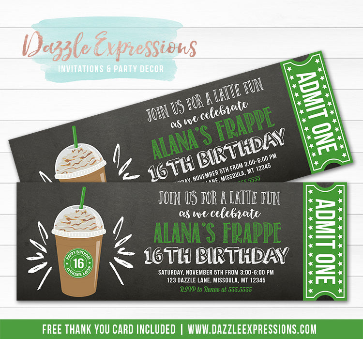 Frappe Chalkboard Ticket Invitation - FREE thank you card