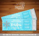 Winter Glitter Ticket Invitation 1 - FREE thank you card included