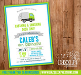 Garbage Truck Birthday Invitation - FREE thank you card included