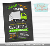Garbage Truck Chalkboard Invitation 1 - FREE thank you card