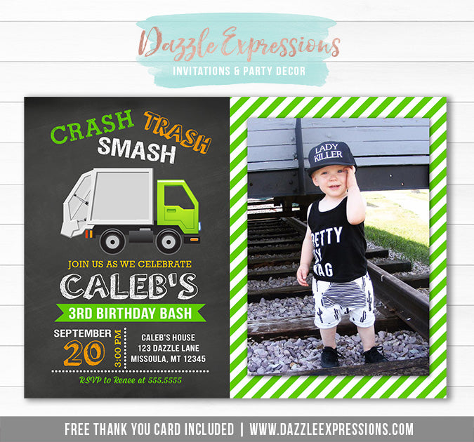 Garbage Truck Chalkboard Invitation 2 - FREE thank you card