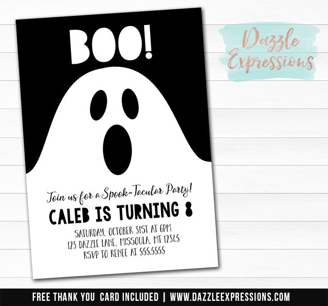 Ghost Invitation - FREE thank you card included