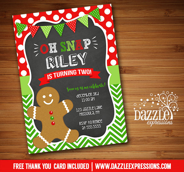 Gingerbread Man Chalkboard Invitation - FREE thank you card included