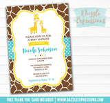 Giraffe Baby Shower Invitation 1 - FREE thank you card included