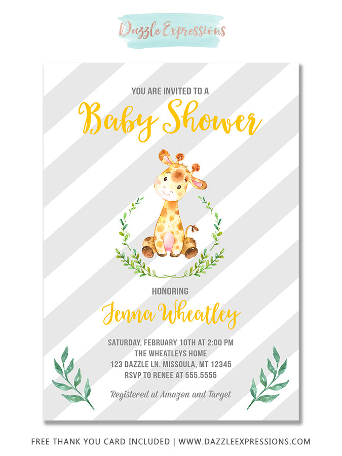 Baby Giraffe Watercolor Baby Shower Invitation 3 - FREE thank you card