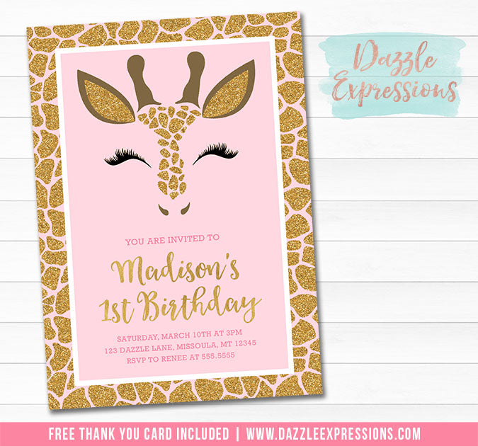 Giraffe Pink and Gold Invitation - FREE thank you card