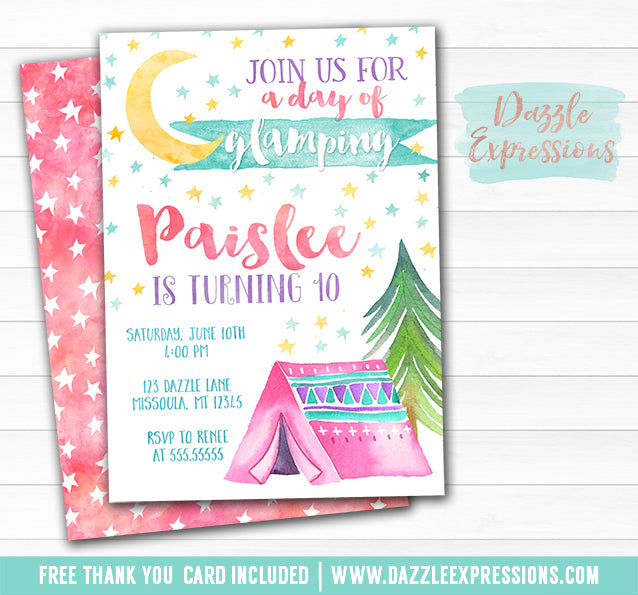 Glamping Watercolor Invitation - FREE thank you card and Back Side