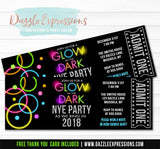 Glow in the Dark New Years Eve Ticket Invitation