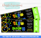 Glow in the Dark Ticket Invitation 1 - FREE thank you card