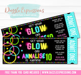Glow in the Dark Ticket Invitation 2 - FREE thank you card