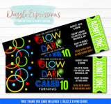 Glow in the Dark Ticket Invitation 4 - FREE thank you card
