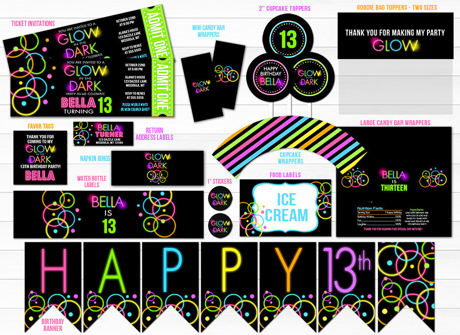 Glow in the Dark Complete Party Package - Printable