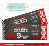 Go Kart Chalkboard Ticket Invitation 2 - FREE thank you card