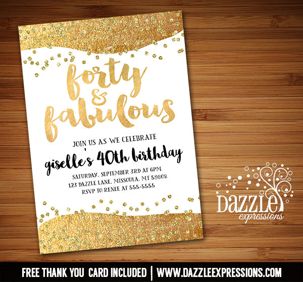 Fabulous Gold Birthday Invitation - Any Age - FREE thank you card