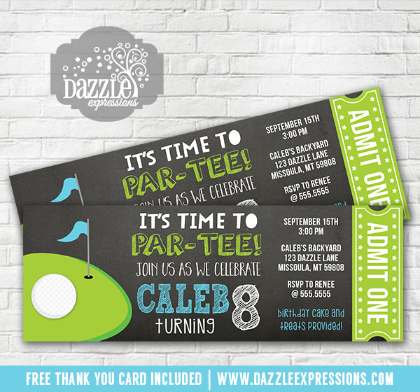 Golf Chalkboard Ticket Invitation - FREE thank you card included