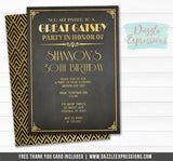 Great Gatsby Birthday Invitation - FREE thank you card