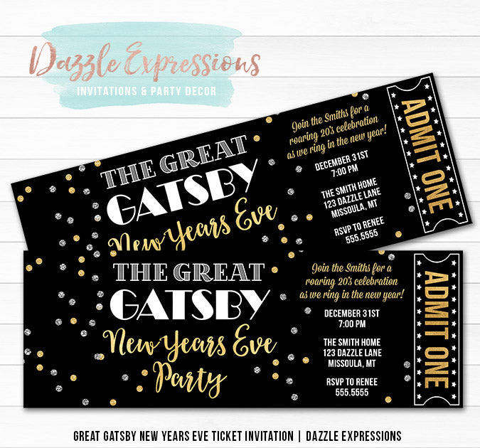 Great Gatsby New Years Eve Ticket Invitation