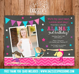 Gymnastics Girl Chalkboard Birthday Invitation - FREE thank you card included