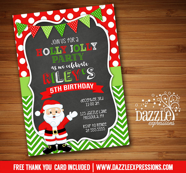 Holly Jolly Santa Chalkboard Invitation - FREE thank you card included