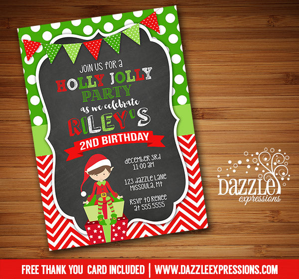 Holly Jolly Elf Chalkboard Invitation 1 - FREE thank you card included