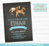 Horse Chalkboard Invitation 1 - FREE thank you card