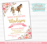 Horse Watercolor Invitation 2 - FREE thank you card included