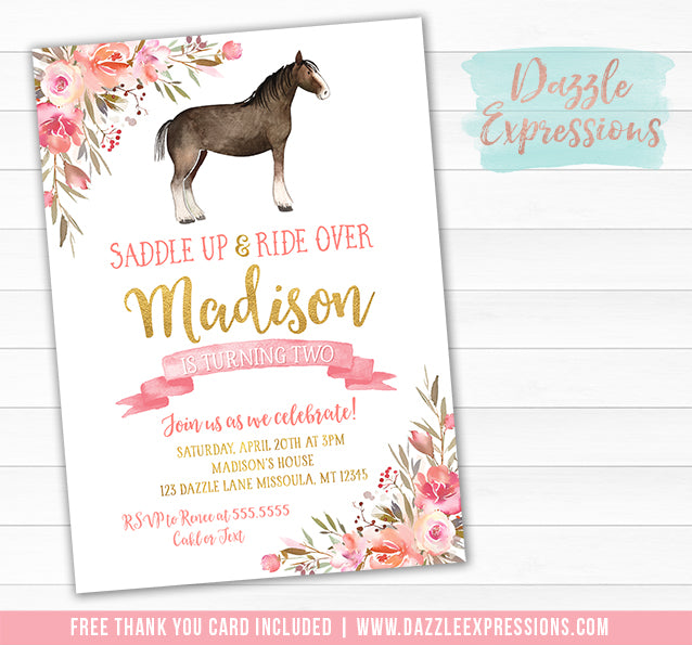 Horse Watercolor Invitation 3 - FREE thank you card included
