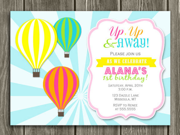 Hot Air Balloon Birthday Invitation 2 - Thank You Card Included