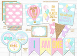 Hot Air Balloon Glitter Complete Party Package - Printable