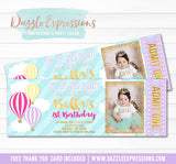 Hot Air Balloon Ticket Invitation 3 - FREE thank you card included