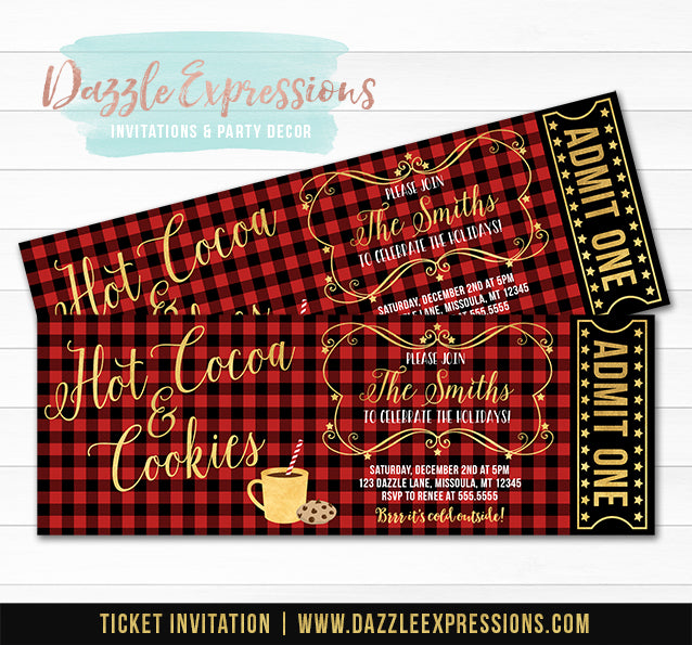 Hot Cocoa and Cookies Plaid Holiday Party Ticket Invitation