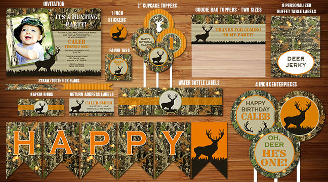 Camouflage Hunting Complete Party Package - Printable