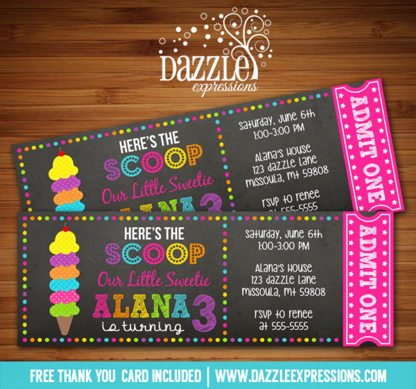 Ice Cream Chalkboard Ticket Invitation 1 - FREE thank you card included