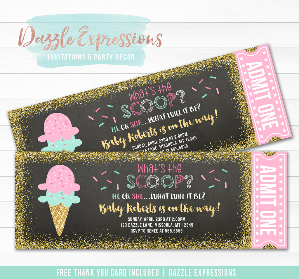 Ice Cream Gender Reveal Ticket Invitation - FREE thank you card